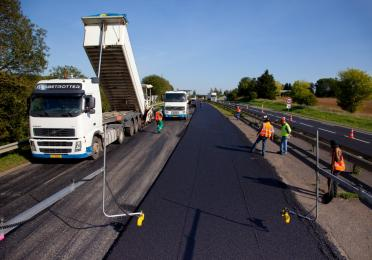 Bitumen for road construction on the RN52 near Longwy