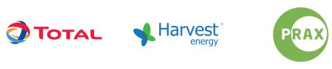 Total, Prax and Harvest logos